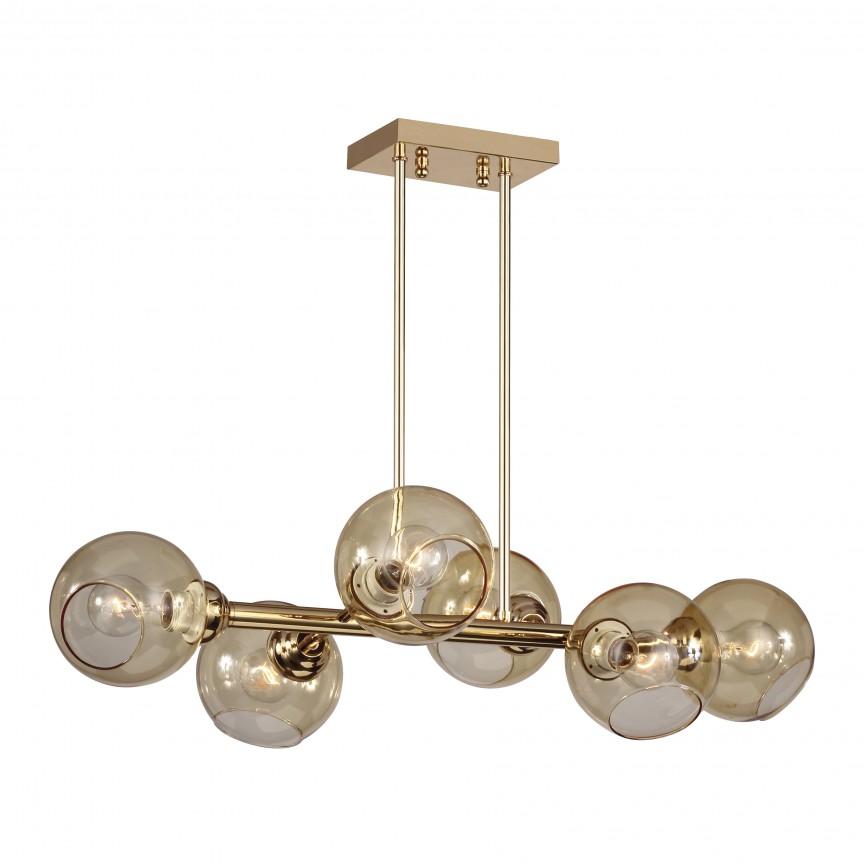 Lustra design deosebit cu 6 surse de lumina BOLILLAS auriu, Magazin,  a