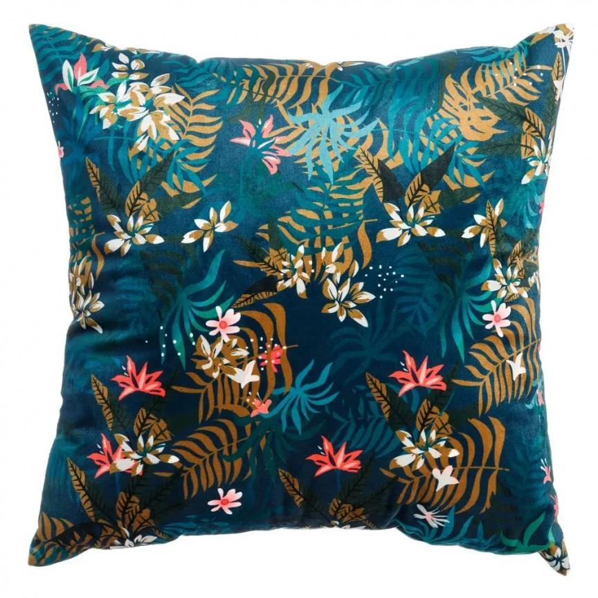 Perna albastra cu motiv floral FLOWERS, 45x45cm SX-120963, Perne - Fete de perne, Corpuri de iluminat, lustre, aplice, veioze, lampadare, plafoniere. Mobilier si decoratiuni, oglinzi, scaune, fotolii. Oferte speciale iluminat interior si exterior. Livram in toata tara.  a