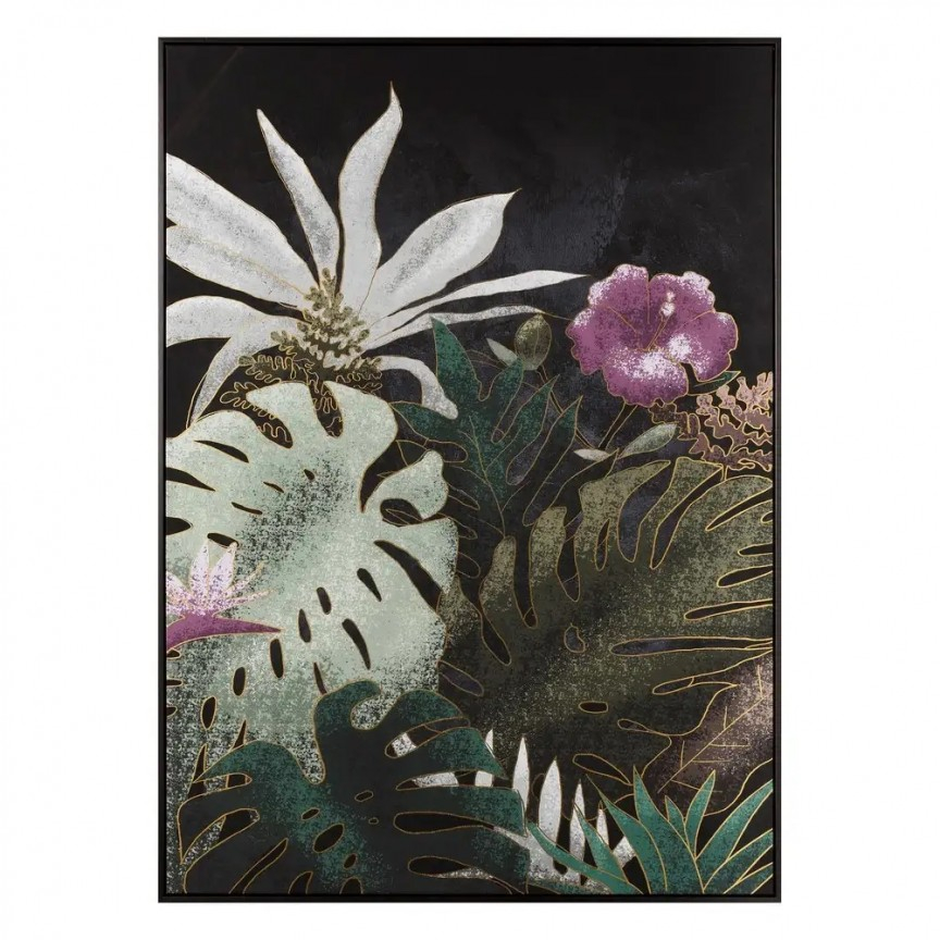 Tablou decorativ, pictura pe panza Frunze negru-verde, 100x140cm SX-108320, Tablouri decorative, Corpuri de iluminat, lustre, aplice, veioze, lampadare, plafoniere. Mobilier si decoratiuni, oglinzi, scaune, fotolii. Oferte speciale iluminat interior si exterior. Livram in toata tara.  a