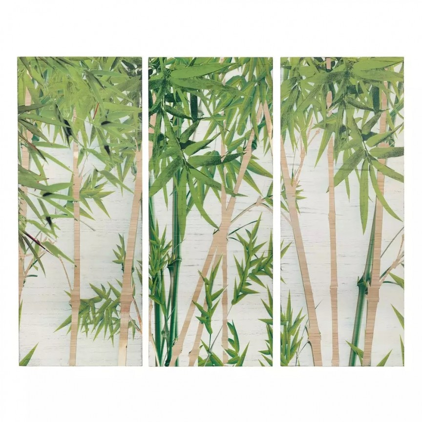Tablou 3 piese, pictura pe panza Bambus verde-alb, 144x120cm SX-106681, Tablouri decorative, Corpuri de iluminat, lustre, aplice, veioze, lampadare, plafoniere. Mobilier si decoratiuni, oglinzi, scaune, fotolii. Oferte speciale iluminat interior si exterior. Livram in toata tara.  a