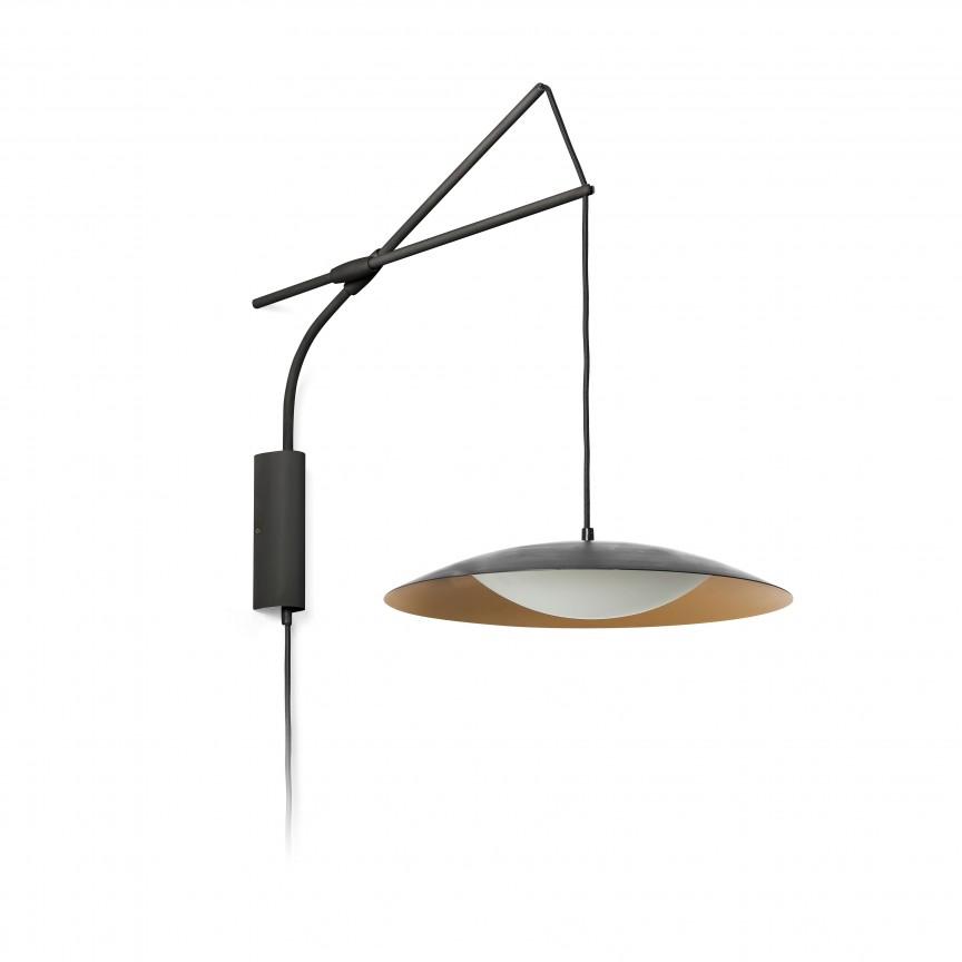 Aplica LED cu pendul extensibil design modern SLIM negru/auriu, Aplice de perete LED, Corpuri de iluminat, lustre, aplice, veioze, lampadare, plafoniere. Mobilier si decoratiuni, oglinzi, scaune, fotolii. Oferte speciale iluminat interior si exterior. Livram in toata tara.  a