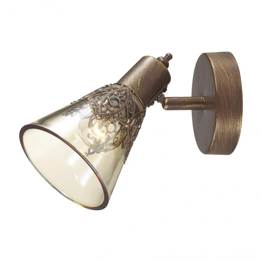 Aplica cu spot design clasic Gumbata, maro 1795-1W FV, Spoturi - iluminat - cu 1 spot, Corpuri de iluminat, lustre, aplice, veioze, lampadare, plafoniere. Mobilier si decoratiuni, oglinzi, scaune, fotolii. Oferte speciale iluminat interior si exterior. Livram in toata tara.  a