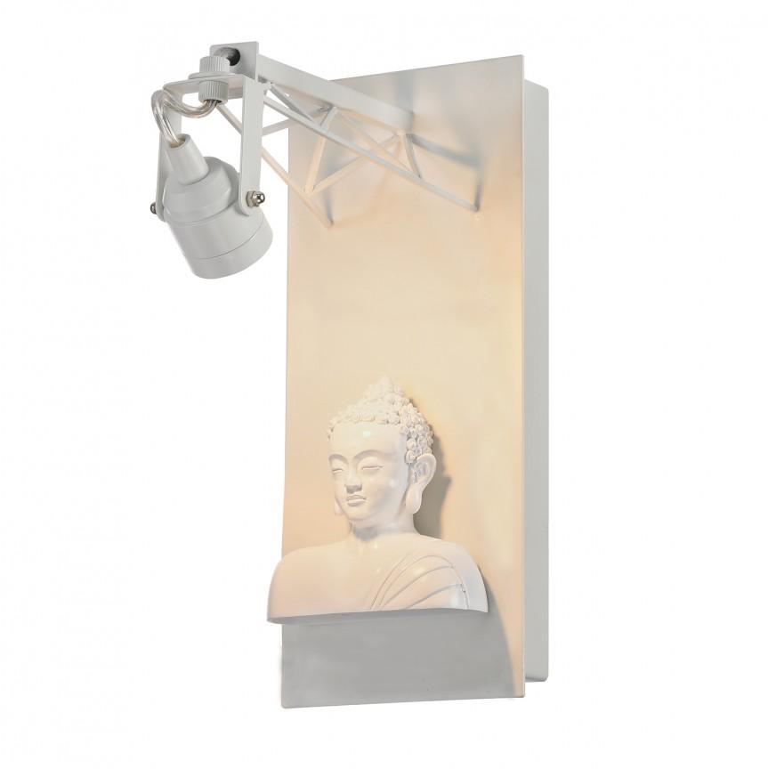 Aplica cu spot LED design Art Deco EXPOSITION Buddha alb, ILUMINAT INTERIOR RUSTIC, Corpuri de iluminat, lustre, aplice, veioze, lampadare, plafoniere. Mobilier si decoratiuni, oglinzi, scaune, fotolii. Oferte speciale iluminat interior si exterior. Livram in toata tara.  a