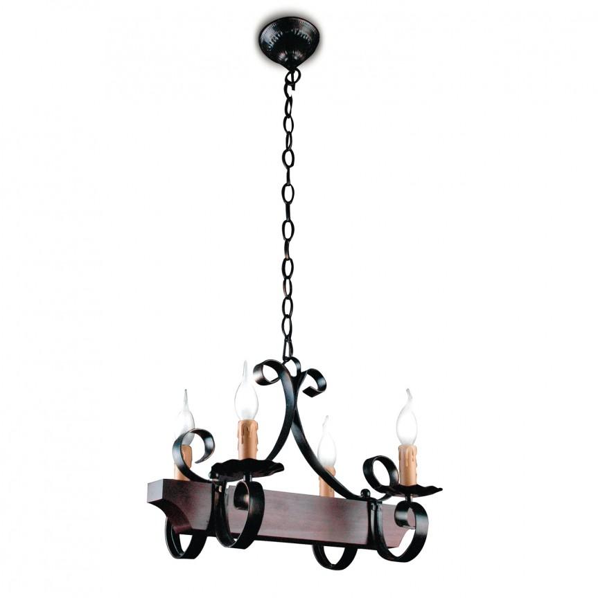 Candelabru stil rustic liniar metal/lemn Rustico, ILUMINAT INTERIOR RUSTIC, Corpuri de iluminat, lustre, aplice, veioze, lampadare, plafoniere. Mobilier si decoratiuni, oglinzi, scaune, fotolii. Oferte speciale iluminat interior si exterior. Livram in toata tara.  a