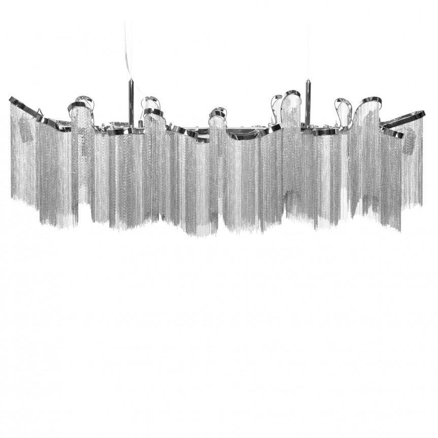 Lustra design extravangant Elegance 118cm, argintiu A-39107 VC, Candelabre, Pendule clasice, Corpuri de iluminat, lustre, aplice, veioze, lampadare, plafoniere. Mobilier si decoratiuni, oglinzi, scaune, fotolii. Oferte speciale iluminat interior si exterior. Livram in toata tara.  a