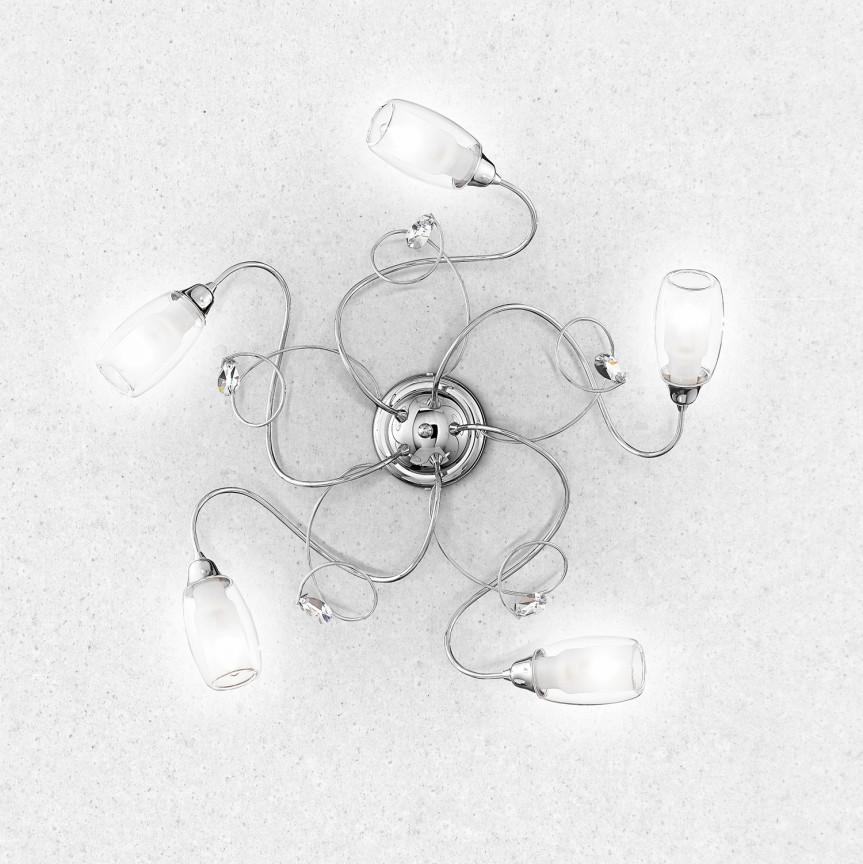 Lustra aplicata stil clasic cu 5 brate ELY crom, Lustre aplicate, Plafoniere clasice, Corpuri de iluminat, lustre, aplice, veioze, lampadare, plafoniere. Mobilier si decoratiuni, oglinzi, scaune, fotolii. Oferte speciale iluminat interior si exterior. Livram in toata tara.  a
