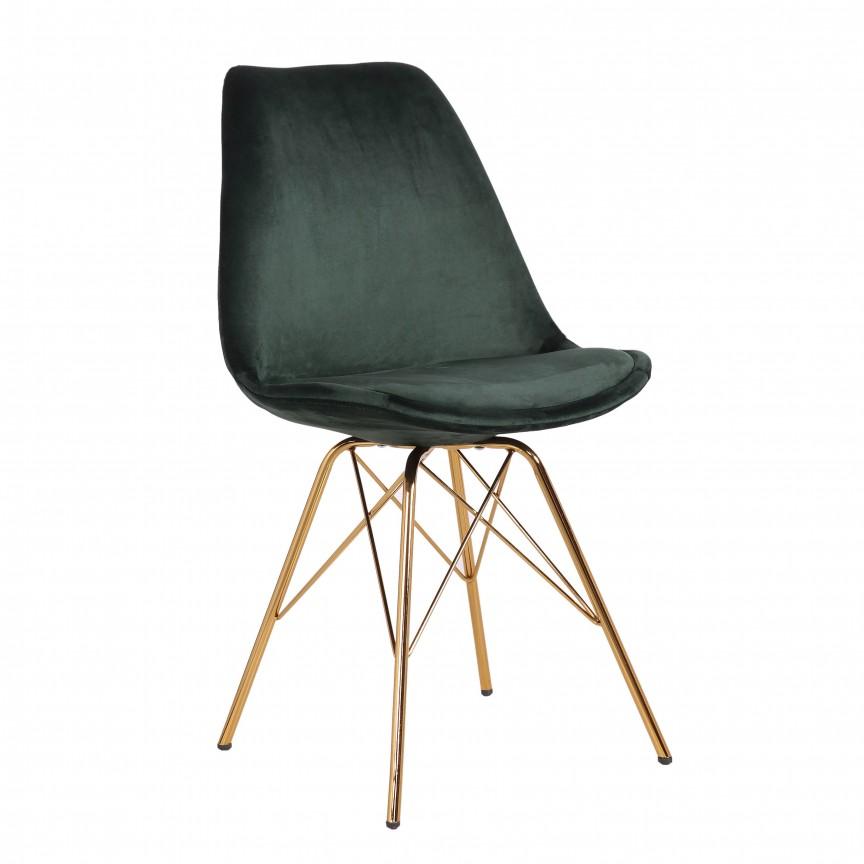 Set de 4 scaune Scandinavia Retro, catifea verde inchis A-39303 VC, Seturi scaune dining, scaune HoReCa, Corpuri de iluminat, lustre, aplice, veioze, lampadare, plafoniere. Mobilier si decoratiuni, oglinzi, scaune, fotolii. Oferte speciale iluminat interior si exterior. Livram in toata tara.  a