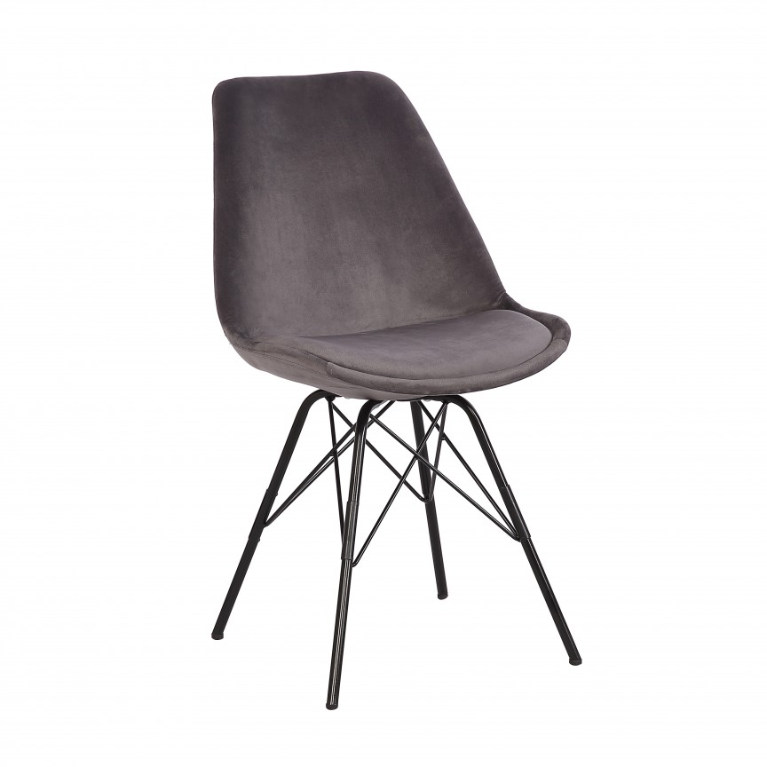 Set de 4 scaune Scandinavia Retro, catifea gri argintiu A-39302 VC, Seturi scaune dining, scaune HoReCa, Corpuri de iluminat, lustre, aplice, veioze, lampadare, plafoniere. Mobilier si decoratiuni, oglinzi, scaune, fotolii. Oferte speciale iluminat interior si exterior. Livram in toata tara.  a
