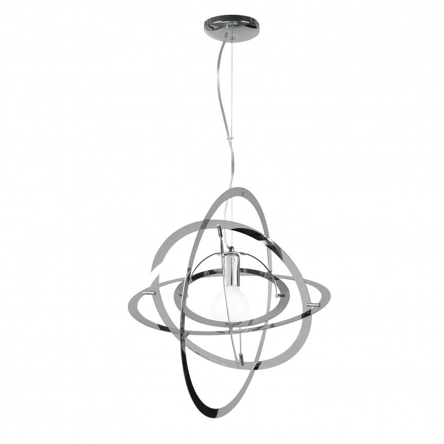 Lustra design modern Ø48cm Atom crom, Pendule, Lustre suspendate, Corpuri de iluminat, lustre, aplice, veioze, lampadare, plafoniere. Mobilier si decoratiuni, oglinzi, scaune, fotolii. Oferte speciale iluminat interior si exterior. Livram in toata tara.  a