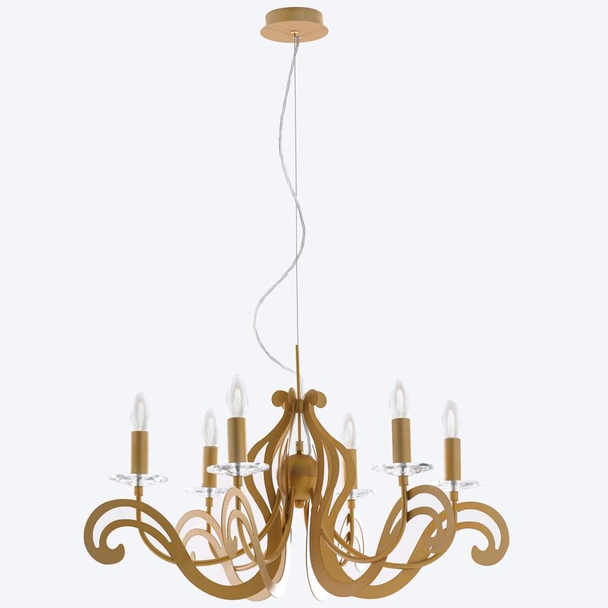 Candelabru auriu cu 6 brate Klimt , Magazin, Corpuri de iluminat, lustre, aplice, veioze, lampadare, plafoniere. Mobilier si decoratiuni, oglinzi, scaune, fotolii. Oferte speciale iluminat interior si exterior. Livram in toata tara.  a