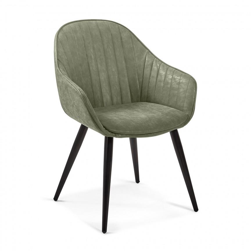 Scaun cu brate design modern Herbert, piele sintetica verde CC1155UE19 JG, Cele mai noi produse 2019 a