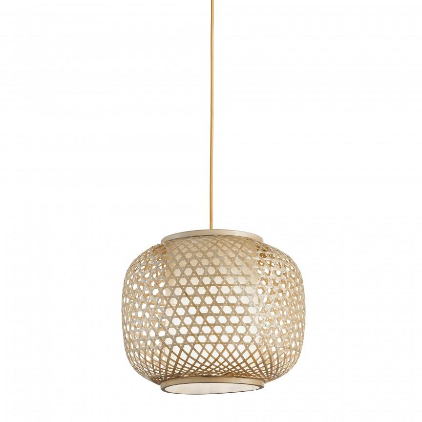 Lustra din bambus I-ZEN-S-M FE, 30cm, Candelabre, Pendule, Lustre, Corpuri de iluminat, lustre, aplice, veioze, lampadare, plafoniere. Mobilier si decoratiuni, oglinzi, scaune, fotolii. Oferte speciale iluminat interior si exterior. Livram in toata tara.  a