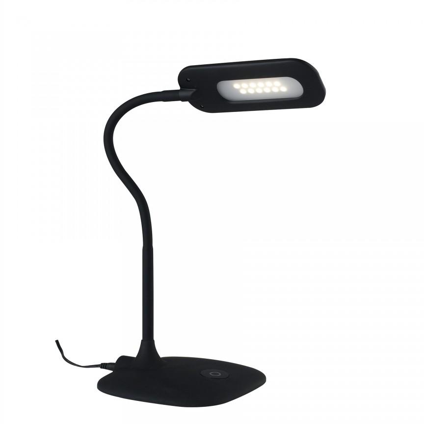 Lampa de birou LED Darwin, negru LEDT-DARWIN-BLACK FE, Veioze LED, Lampadare LED, Corpuri de iluminat, lustre, aplice, veioze, lampadare, plafoniere. Mobilier si decoratiuni, oglinzi, scaune, fotolii. Oferte speciale iluminat interior si exterior. Livram in toata tara.  a
