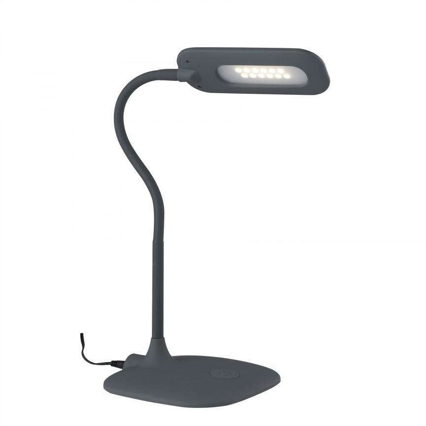 Lampa de birou LED Darwin, gri LEDT-DARWIN-GREY FE, Veioze LED, Lampadare LED, Corpuri de iluminat, lustre, aplice, veioze, lampadare, plafoniere. Mobilier si decoratiuni, oglinzi, scaune, fotolii. Oferte speciale iluminat interior si exterior. Livram in toata tara.  a