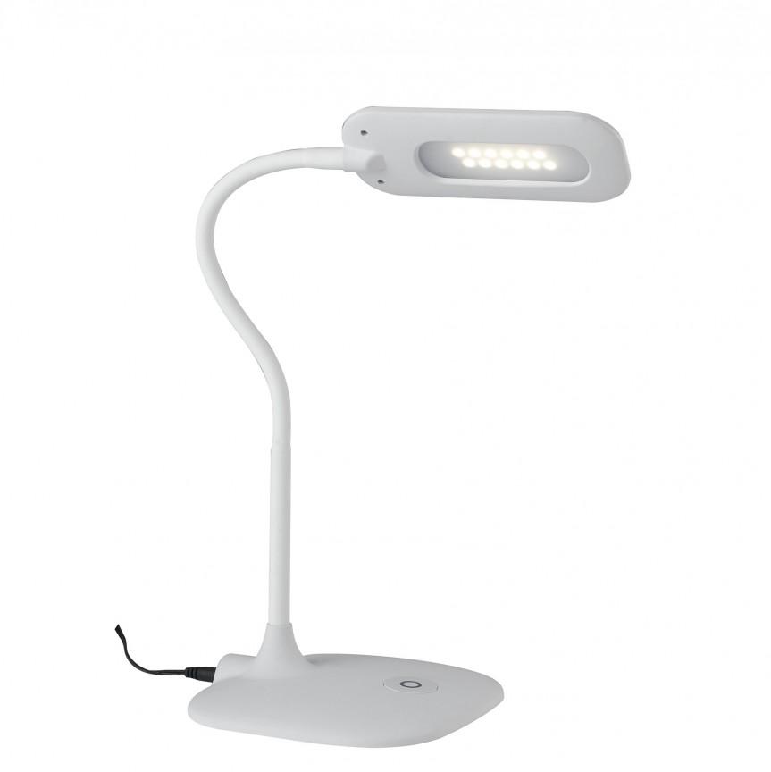 Lampa de birou LED Darwin, alb LEDT-DARWIN-WHITE FE, Veioze LED, Lampadare LED, Corpuri de iluminat, lustre, aplice, veioze, lampadare, plafoniere. Mobilier si decoratiuni, oglinzi, scaune, fotolii. Oferte speciale iluminat interior si exterior. Livram in toata tara.  a