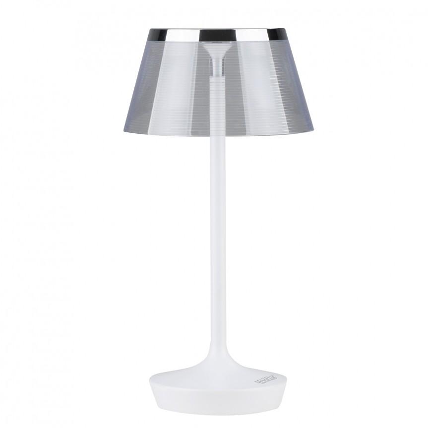 Veioza LED design modern H-39cm SOUL alb/crom T0037 MX, Veioze LED, Lampadare LED, Corpuri de iluminat, lustre, aplice, veioze, lampadare, plafoniere. Mobilier si decoratiuni, oglinzi, scaune, fotolii. Oferte speciale iluminat interior si exterior. Livram in toata tara.  a