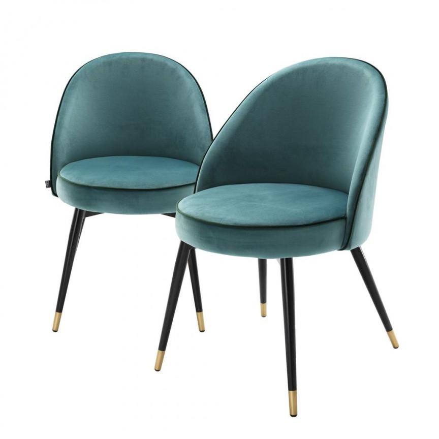 Set de 2 scaune elegante design LUX Cooper, catifea turcoaz 113123 HZ, Seturi scaune dining, scaune HoReCa, Corpuri de iluminat, lustre, aplice, veioze, lampadare, plafoniere. Mobilier si decoratiuni, oglinzi, scaune, fotolii. Oferte speciale iluminat interior si exterior. Livram in toata tara.  a
