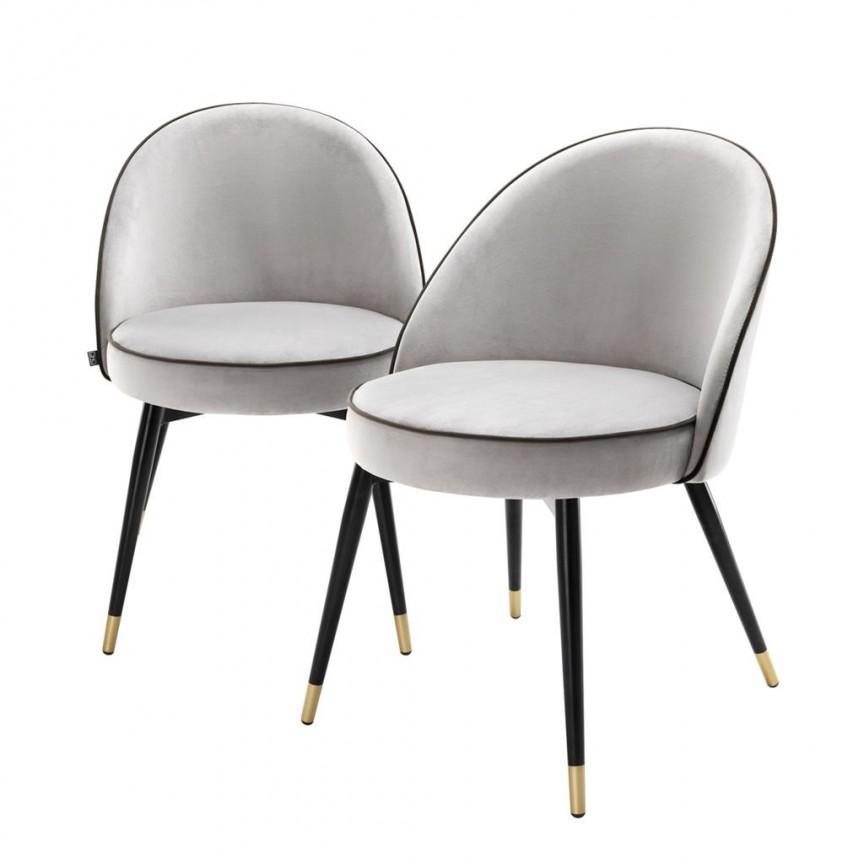 Set de 2 scaune elegante design LUX Cooper, catifea gri deschis 113124 HZ, Seturi scaune dining, scaune HoReCa, Corpuri de iluminat, lustre, aplice, veioze, lampadare, plafoniere. Mobilier si decoratiuni, oglinzi, scaune, fotolii. Oferte speciale iluminat interior si exterior. Livram in toata tara.  a