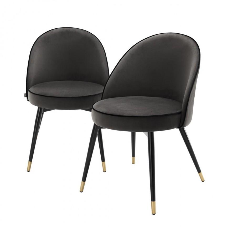 Set de 2 scaune elegante design LUX Cooper, catifea gri inchis 113125 HZ , Seturi scaune dining, scaune HoReCa, Corpuri de iluminat, lustre, aplice, veioze, lampadare, plafoniere. Mobilier si decoratiuni, oglinzi, scaune, fotolii. Oferte speciale iluminat interior si exterior. Livram in toata tara.  a