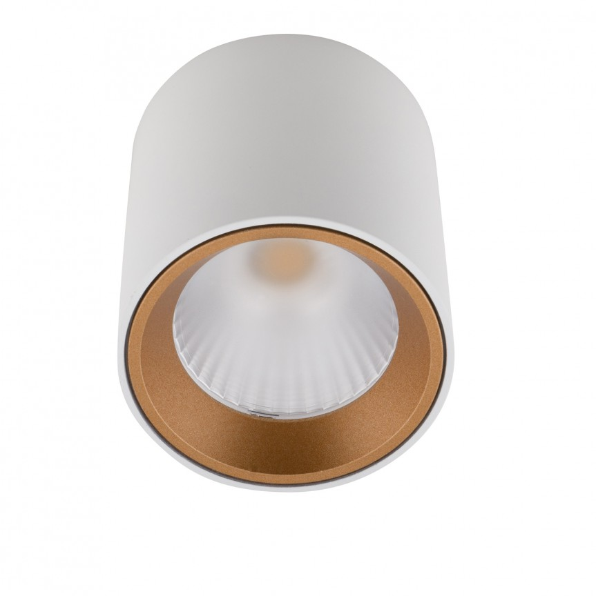 Spot LED aplicat design minimalist TUB alb/auriu C0155 MX + RC0155/0156 GOLD, Spoturi aplicate - tavan / perete, Corpuri de iluminat, lustre, aplice, veioze, lampadare, plafoniere. Mobilier si decoratiuni, oglinzi, scaune, fotolii. Oferte speciale iluminat interior si exterior. Livram in toata tara.  a