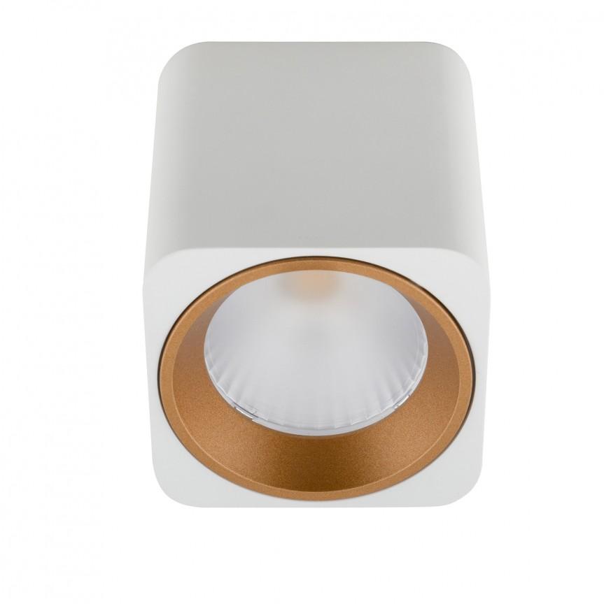 Spot LED aplicat design minimalist TUB square alb/auriu C0156 MX + RC0155/0156 GOLD, Spoturi aplicate - tavan / perete, Corpuri de iluminat, lustre, aplice, veioze, lampadare, plafoniere. Mobilier si decoratiuni, oglinzi, scaune, fotolii. Oferte speciale iluminat interior si exterior. Livram in toata tara.  a