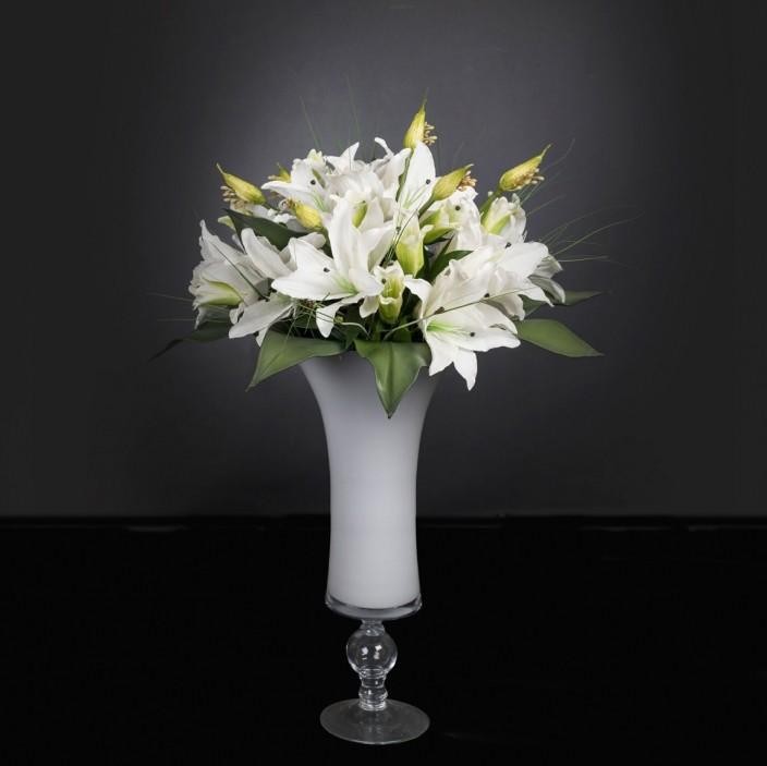 Aranjament floral mare COPPA LAURA LILIUM, H-120cm, Aranjamente florale LUX, Corpuri de iluminat, lustre, aplice, veioze, lampadare, plafoniere. Mobilier si decoratiuni, oglinzi, scaune, fotolii. Oferte speciale iluminat interior si exterior. Livram in toata tara.  a