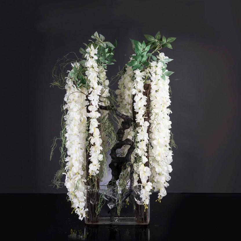 Aranjament floral mare ETERNITY BLACK WISTERIA, H-120cm, Aranjamente florale LUX, Corpuri de iluminat, lustre, aplice, veioze, lampadare, plafoniere. Mobilier si decoratiuni, oglinzi, scaune, fotolii. Oferte speciale iluminat interior si exterior. Livram in toata tara.  a