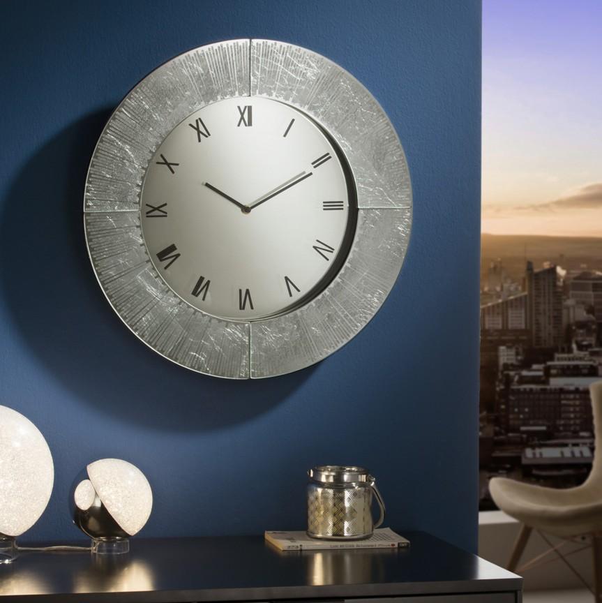 Ceas de perete decorativ AURORA Ø50 argintiu SV-593620, Magazin, Corpuri de iluminat, lustre, aplice, veioze, lampadare, plafoniere. Mobilier si decoratiuni, oglinzi, scaune, fotolii. Oferte speciale iluminat interior si exterior. Livram in toata tara.  a
