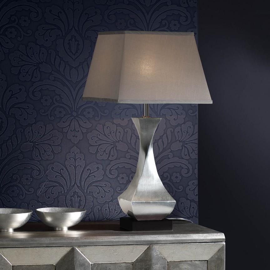 Veioza / Lampa de masa design elegant DECO argintie SV-661565, Magazin, Corpuri de iluminat, lustre, aplice, veioze, lampadare, plafoniere. Mobilier si decoratiuni, oglinzi, scaune, fotolii. Oferte speciale iluminat interior si exterior. Livram in toata tara.  a