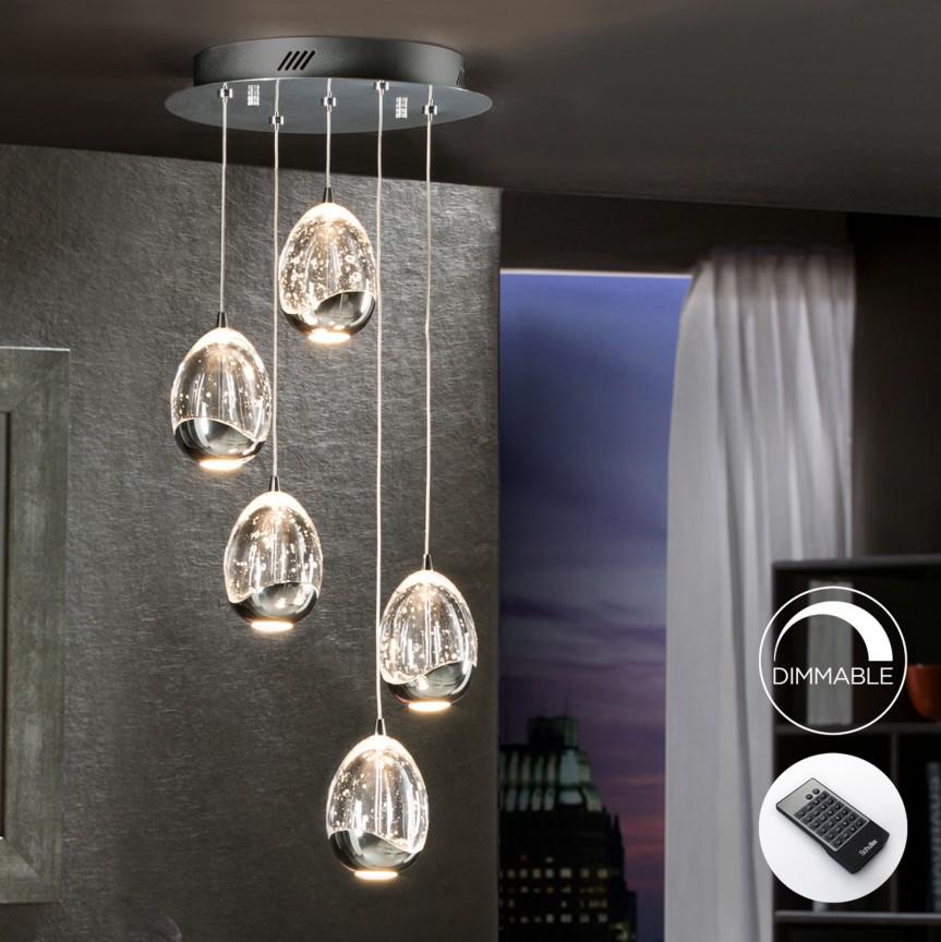 Lustra LED dimabila cu telecomanda ROCIO 5L, crom SV-783517D, Lustre LED, Pendule LED, Corpuri de iluminat, lustre, aplice, veioze, lampadare, plafoniere. Mobilier si decoratiuni, oglinzi, scaune, fotolii. Oferte speciale iluminat interior si exterior. Livram in toata tara.  a