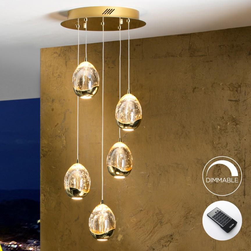 Lustra LED dimabila cu telecomanda ROCIO 5L, auriu SV-783529D, Lustre LED, Pendule LED, Corpuri de iluminat, lustre, aplice, veioze, lampadare, plafoniere. Mobilier si decoratiuni, oglinzi, scaune, fotolii. Oferte speciale iluminat interior si exterior. Livram in toata tara.  a