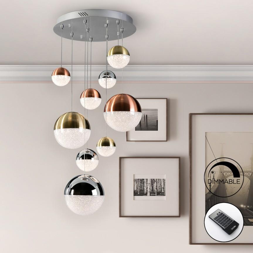 Lustra LED dimabila cu telecomanda Sphere 9L SV-793091D, Lustre LED, Pendule LED, Corpuri de iluminat, lustre, aplice, veioze, lampadare, plafoniere. Mobilier si decoratiuni, oglinzi, scaune, fotolii. Oferte speciale iluminat interior si exterior. Livram in toata tara.  a