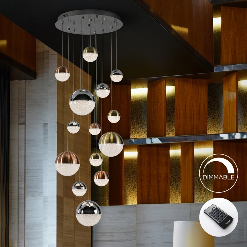 Lustra LED dimabila cu telecomanda Sphere 14L SV-793258D, Lustre casa scarii, Corpuri de iluminat, lustre, aplice, veioze, lampadare, plafoniere. Mobilier si decoratiuni, oglinzi, scaune, fotolii. Oferte speciale iluminat interior si exterior. Livram in toata tara.  a