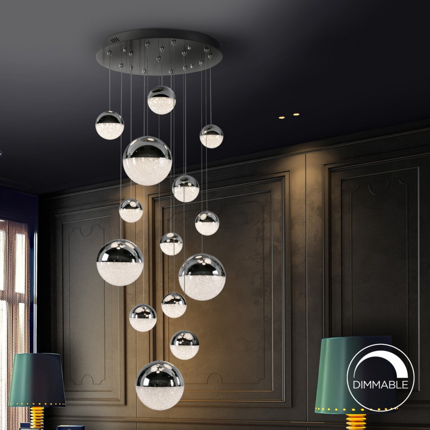 Lustra LED dimabila design modern Sphere 14L crom SV-793269, Lustre LED, Pendule LED, Corpuri de iluminat, lustre, aplice, veioze, lampadare, plafoniere. Mobilier si decoratiuni, oglinzi, scaune, fotolii. Oferte speciale iluminat interior si exterior. Livram in toata tara.  a