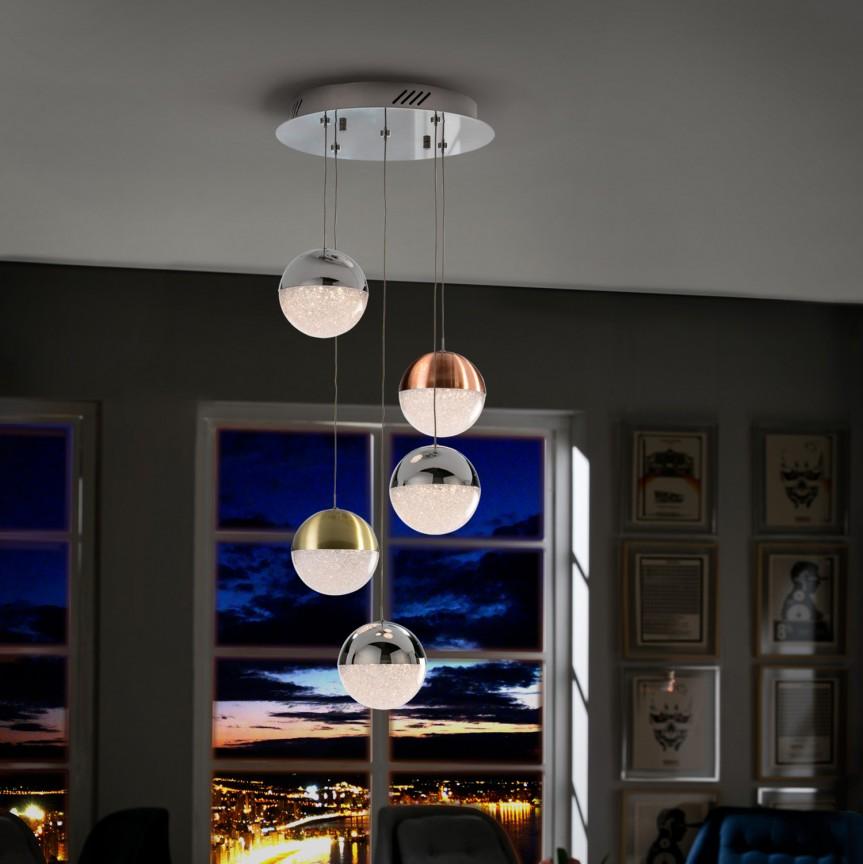 Lustra LED dimabila cu telecomanda Sphere 5L SV-793534D, Lampi LED si Telecomanda, Corpuri de iluminat, lustre, aplice, veioze, lampadare, plafoniere. Mobilier si decoratiuni, oglinzi, scaune, fotolii. Oferte speciale iluminat interior si exterior. Livram in toata tara.  a