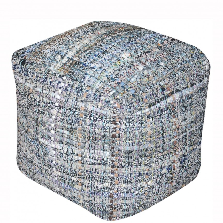Taburete Ganny bumbac reciclat albastru, Tabureti - Banci, Corpuri de iluminat, lustre, aplice, veioze, lampadare, plafoniere. Mobilier si decoratiuni, oglinzi, scaune, fotolii. Oferte speciale iluminat interior si exterior. Livram in toata tara.  a