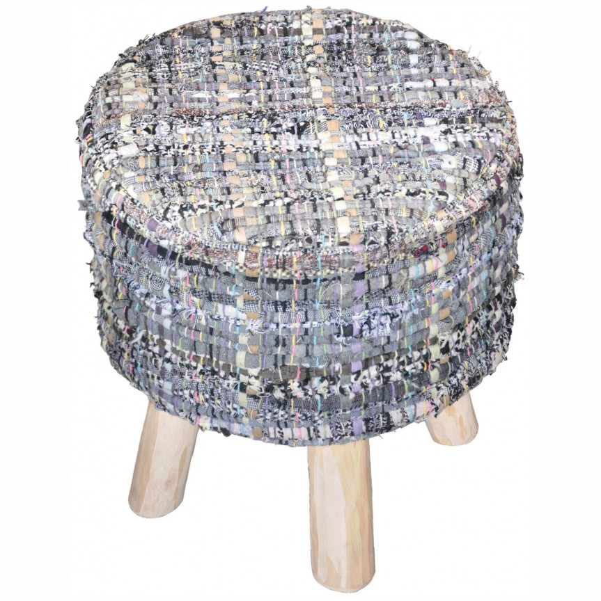 Taburete Harwilll bumbac reciclat albastru, Tabureti - Banci, Corpuri de iluminat, lustre, aplice, veioze, lampadare, plafoniere. Mobilier si decoratiuni, oglinzi, scaune, fotolii. Oferte speciale iluminat interior si exterior. Livram in toata tara.  a