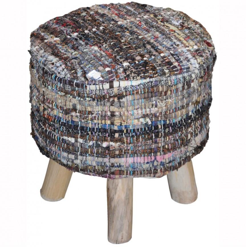 Taburete Donaugh bumbac reciclat kaki, Tabureti - Banci, Corpuri de iluminat, lustre, aplice, veioze, lampadare, plafoniere. Mobilier si decoratiuni, oglinzi, scaune, fotolii. Oferte speciale iluminat interior si exterior. Livram in toata tara.  a