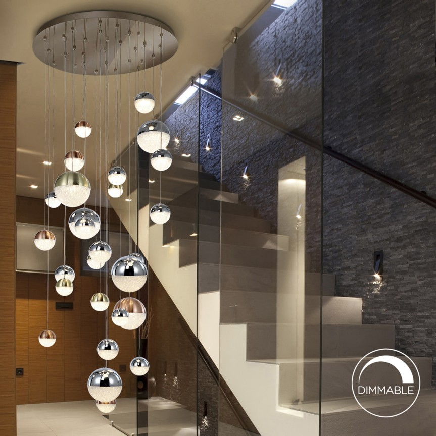 Lustra LED dimabila casa scarii XXL design modern cu 27 pendule Sphere SV-793960G, Lustre casa scarii, Corpuri de iluminat, lustre, aplice, veioze, lampadare, plafoniere. Mobilier si decoratiuni, oglinzi, scaune, fotolii. Oferte speciale iluminat interior si exterior. Livram in toata tara.  a