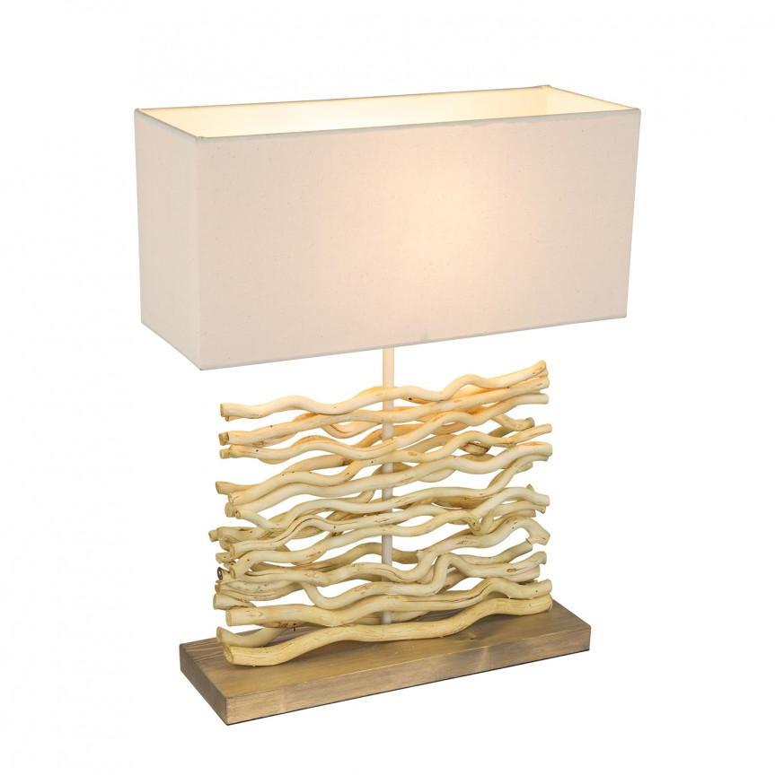 Veioza / Lampa de masa rustica design natural JAMIE 21647 GL, Veioze, Corpuri de iluminat, lustre, aplice, veioze, lampadare, plafoniere. Mobilier si decoratiuni, oglinzi, scaune, fotolii. Oferte speciale iluminat interior si exterior. Livram in toata tara.  a