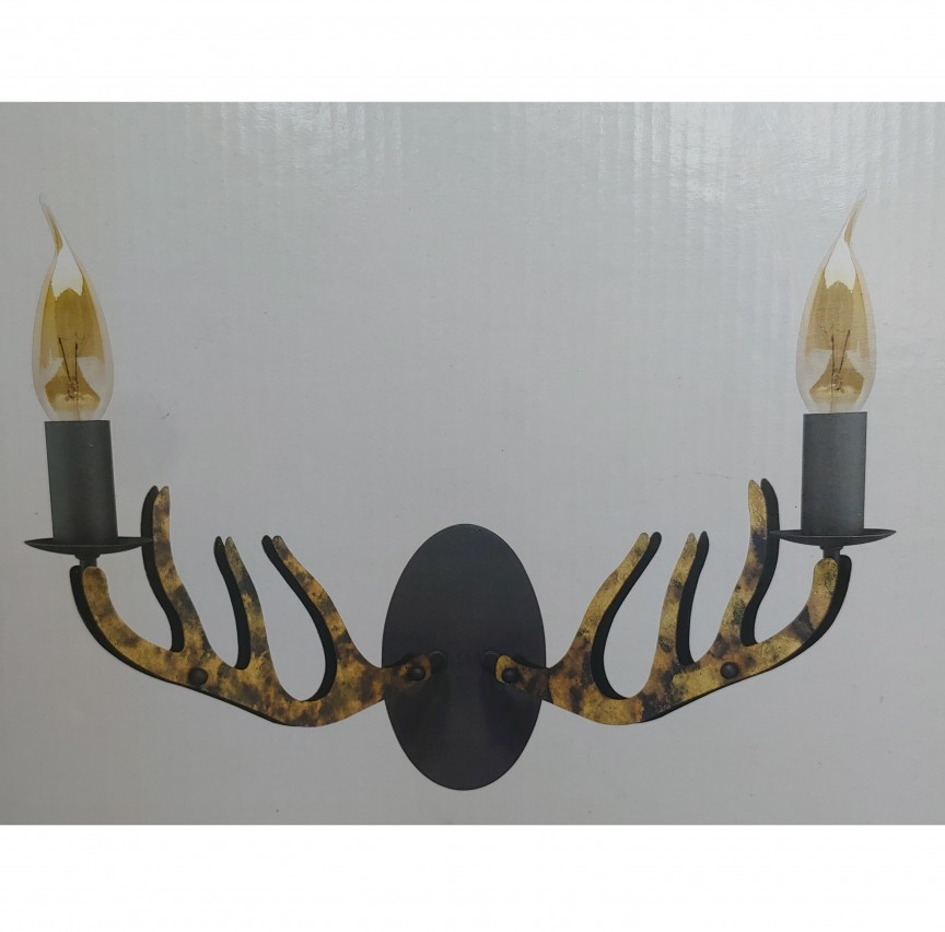 Aplica design rustic design coarne HUBERTUS 68892/56 BL, Lichidari de stoc - Oferte si Reduceri Outlet⭐ Corpuri de iluminat ✅Lustre ✅Mobila ✅Decoratiuni interiorare pentru casa.⭕Pret Redus online❗ Magazin ➽ www.evalight.ro. a