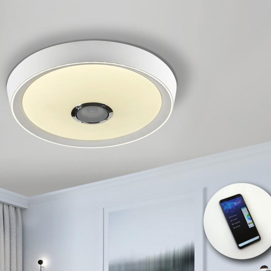 Plafoniera LED RGB cu telecomanda, speaker audio Jazz SV-851472, Plafoniere LED, Spoturi LED, Corpuri de iluminat, lustre, aplice, veioze, lampadare, plafoniere. Mobilier si decoratiuni, oglinzi, scaune, fotolii. Oferte speciale iluminat interior si exterior. Livram in toata tara.  a