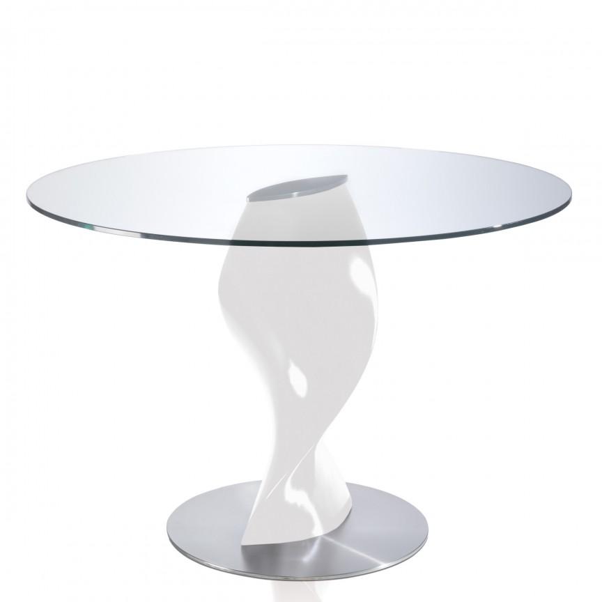 Masa cu baza din fibra de sticla Ollie, sticla transparenta 120cm AC-B065, Magazin, Corpuri de iluminat, lustre, aplice, veioze, lampadare, plafoniere. Mobilier si decoratiuni, oglinzi, scaune, fotolii. Oferte speciale iluminat interior si exterior. Livram in toata tara.  a