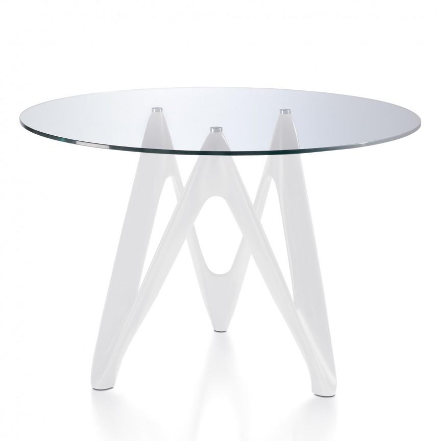Masa cu baza din fibra de sticla Sigrid, sticla transparenta 120cm AC-B063, PROMOTII, Corpuri de iluminat, lustre, aplice, veioze, lampadare, plafoniere. Mobilier si decoratiuni, oglinzi, scaune, fotolii. Oferte speciale iluminat interior si exterior. Livram in toata tara.  a