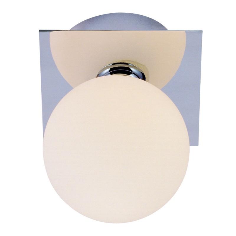 Aplica baie IP44 design modern metal crom, abajur sticla alb mat 5663-1L GL, Aplice pentru baie, oglinda, tablou, Corpuri de iluminat, lustre, aplice, veioze, lampadare, plafoniere. Mobilier si decoratiuni, oglinzi, scaune, fotolii. Oferte speciale iluminat interior si exterior. Livram in toata tara.  a