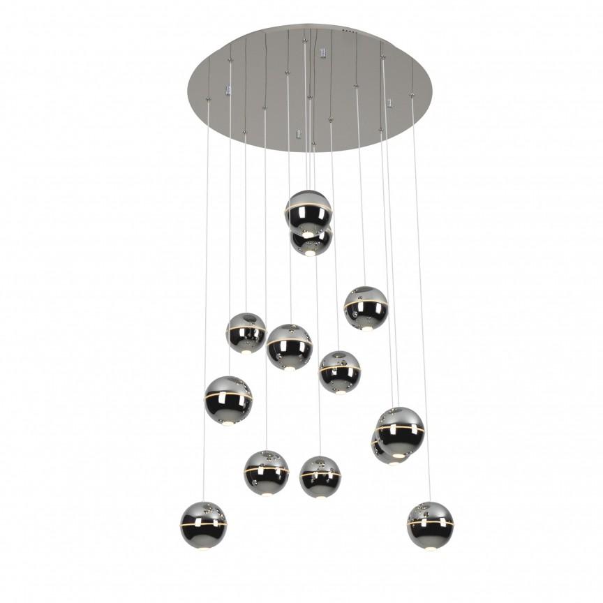 Lustra LED design ultra-modern ZEN 13L crom P0317 MX, Lustre casa scarii, Corpuri de iluminat, lustre, aplice, veioze, lampadare, plafoniere. Mobilier si decoratiuni, oglinzi, scaune, fotolii. Oferte speciale iluminat interior si exterior. Livram in toata tara.  a