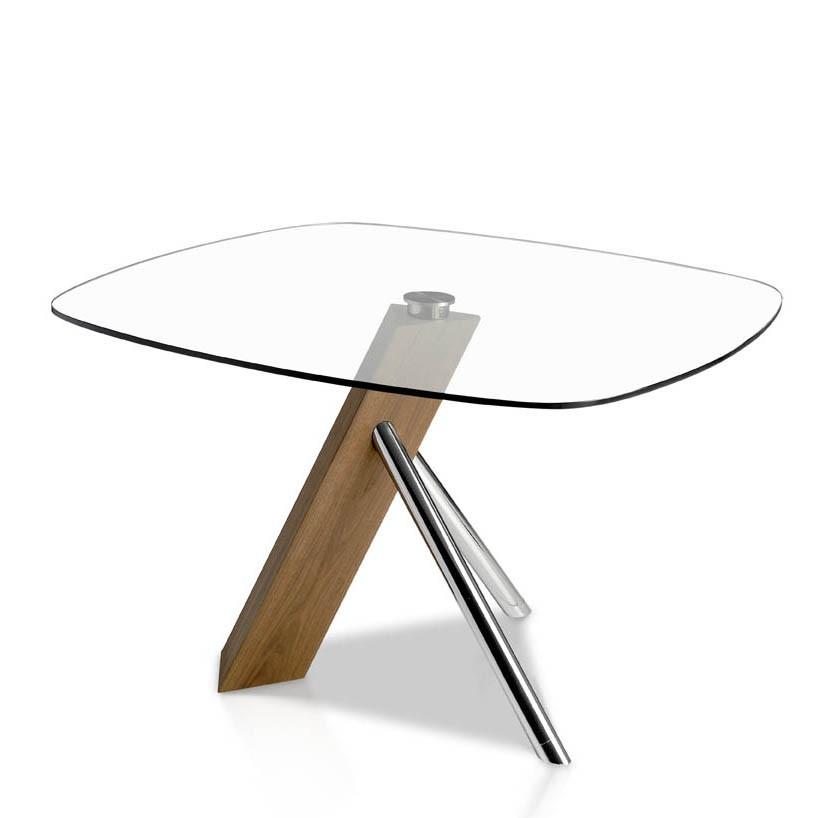 Masa dining design deosebit Walnut and glass, 120x120cm AC-F2170, PROMOTII, Corpuri de iluminat, lustre, aplice, veioze, lampadare, plafoniere. Mobilier si decoratiuni, oglinzi, scaune, fotolii. Oferte speciale iluminat interior si exterior. Livram in toata tara.  a