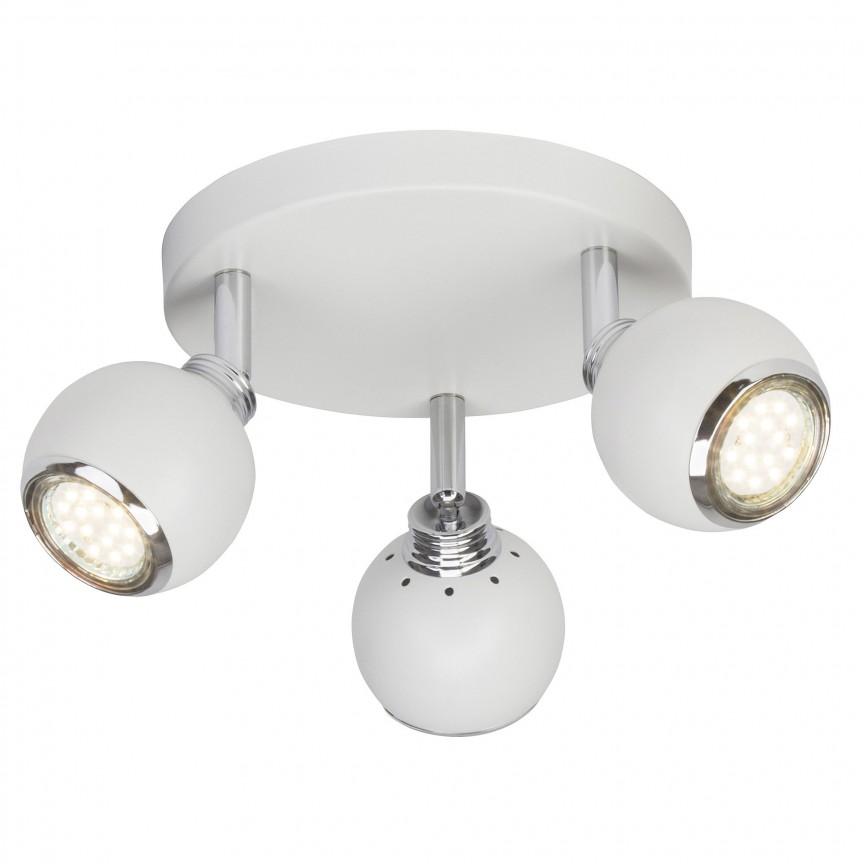 Plafoniera LED cu 3 spoturi directionabile Ina alba G77734/05 BL, Spoturi - iluminat - cu 3 spoturi, Corpuri de iluminat, lustre, aplice, veioze, lampadare, plafoniere. Mobilier si decoratiuni, oglinzi, scaune, fotolii. Oferte speciale iluminat interior si exterior. Livram in toata tara.  a