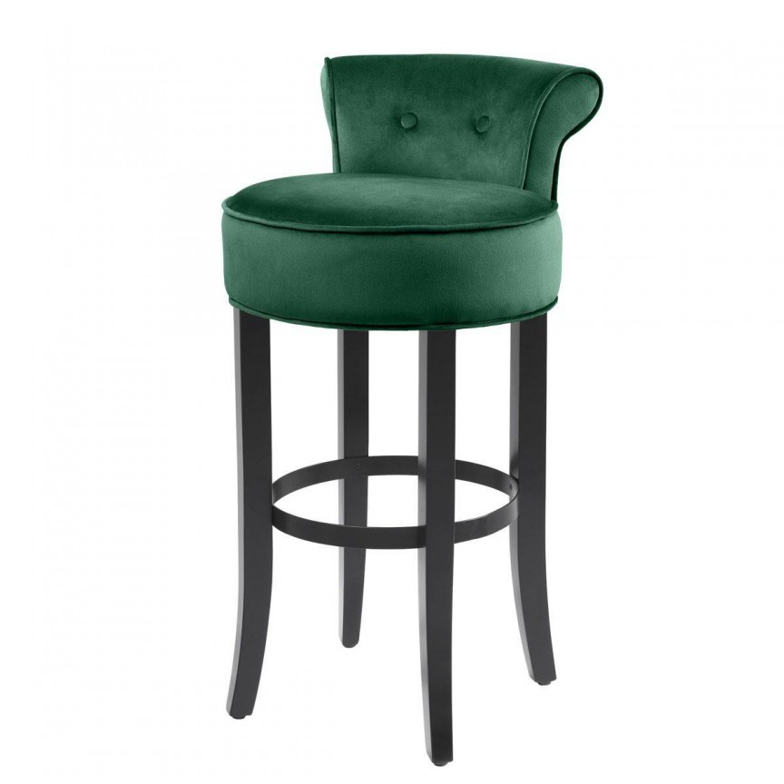 Scaun bar design LUX, Sophia Loren, catifea verde inchis 113231 HZ, Scaune de bar, Corpuri de iluminat, lustre, aplice, veioze, lampadare, plafoniere. Mobilier si decoratiuni, oglinzi, scaune, fotolii. Oferte speciale iluminat interior si exterior. Livram in toata tara.  a