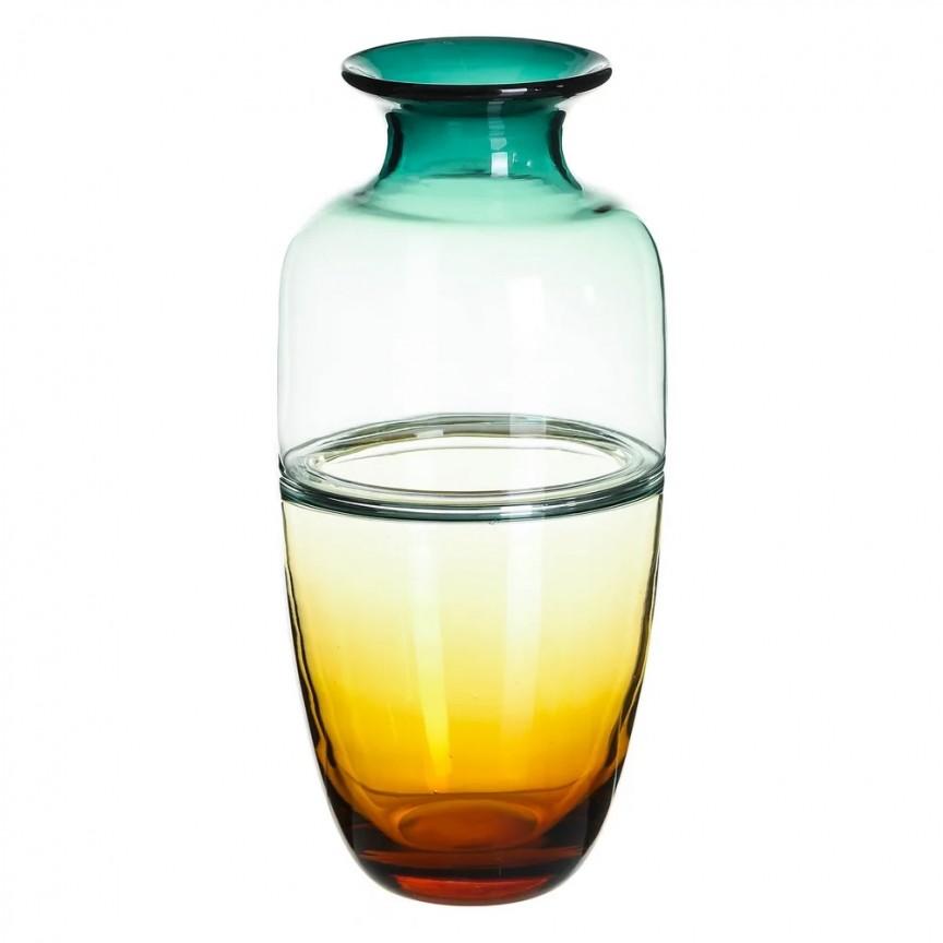 Vas din sticla, Vaza eleganta din sticla VERDE-AMARILLO SX-108613, Vaze, Ghivece decorative, Corpuri de iluminat, lustre, aplice, veioze, lampadare, plafoniere. Mobilier si decoratiuni, oglinzi, scaune, fotolii. Oferte speciale iluminat interior si exterior. Livram in toata tara.  a